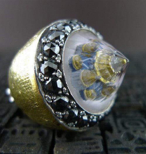 Sevan Bicakci  24K Gold Blue Mosque Dome Ring with Black and White Diamonds