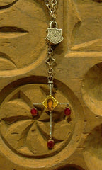 Sevan Bicakci 24K Yellow Gold, Oxidized Silver, Ruby and Diamond Cross  Necklace with Locket