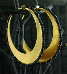 Vanessa Montiel Onyx Hoop Disc Earrings