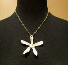 Pade Vavra 18K Yellow Gold, Diamond and Pearl Flower Pendant/Necklace