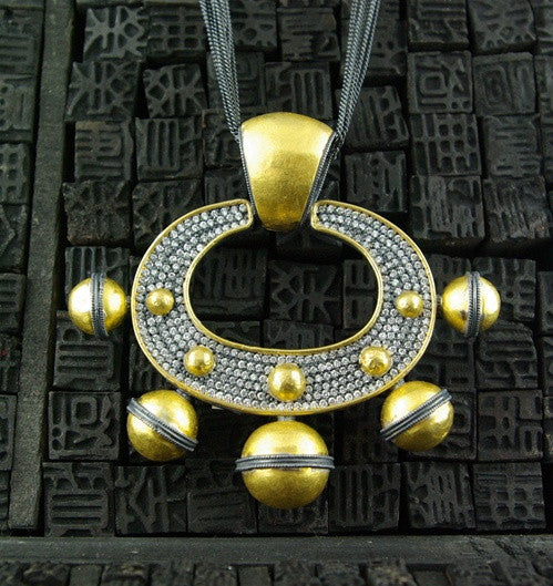 Lika Behar  One of a Kind 24K Gold,  Oxidized Silver  and Diamond Necklace