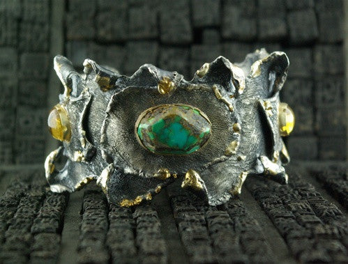 CHURCHILL Private Label 18K Yellow Gold, Fine Silver  and Turquoise Cuff with Citrine