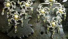 CHURCHILL Private Label 18K Yellow Gold, Silver, and Blackened Diamond Chandelier Earrings