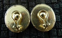 James II Glass Intaglio Clip Earrings with Classical Motifs in 14K Yellow Gold