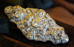 Art Deco Period Diamond Estate Brooch/pin in 18K White Gold