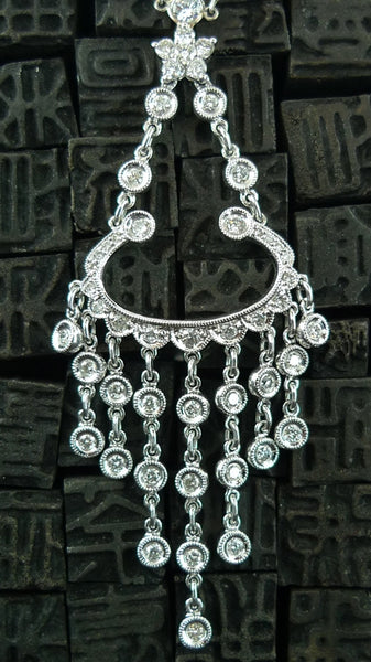 Estate 18K White Gold and Diamond Deco Necklace
