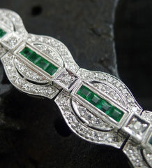 18K White Gold, Diamond and Emerald Estate Bracelet