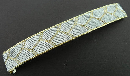 Michael Bondanza Platinum, 18K Yellow Gold and Diamond Wide Bracelet