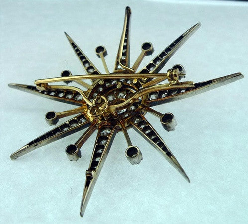 Important Antique Diamond Starburst Brooch/ Pin of 18K Gold