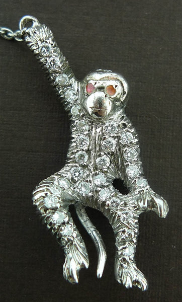 Frolicking Monkeys Brooch in Diamonds and Platinum