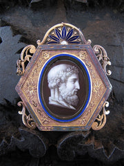 Edwardian Enameled Portrait Pendant of Classical Nobleman in 18K Yellow Gold