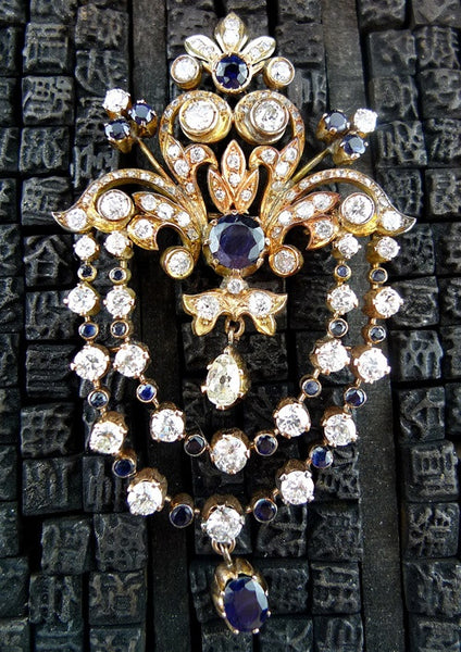 Belle Epoque Style Sapphire and Diamond Brooch in 18K Rose Gold