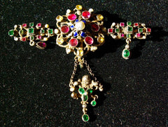 Georgian Period Bar Pin/Brooch from Austria set with Tzavorite Garnets, Tourmaline and Pearls