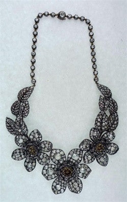 Lorraine Schwartz Important Antique Georgian Diamond Flower Necklace 18K and Silver