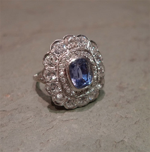 Late Edwardian Ceylon Sapphire and Diamond Ring  in 18K White Gold