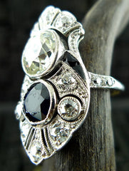 Art Deco Diamond, Sapphire and Onyx Ring in 18K White Gold Circa 1925