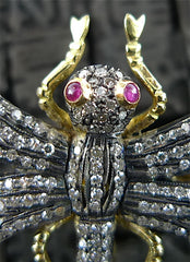 Estate Diamond and Ruby Dragonfly Brooch/Pin in Yellow Gold and Silver