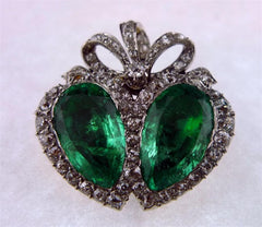Heart Shaped Twin Emerald Brooch with Diamonds in 18K Gold and Platinum Circa 1910