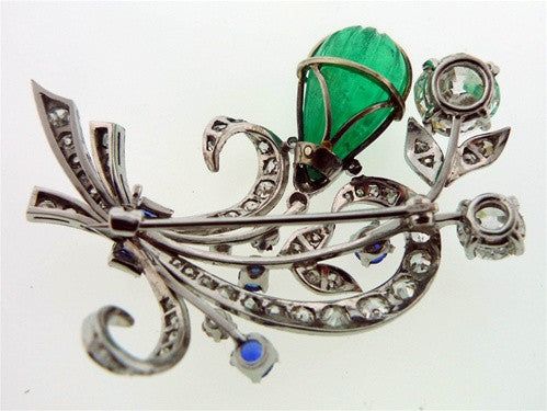 Art Nouveau Emerald, Sapphire and Diamond Brooch