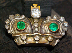 A Fine Silver Topped Gold, Emerald and Diamond Russian Imperial Presentation Brooch,Circa 1896, Cushion Cut Diamond and Emeralds