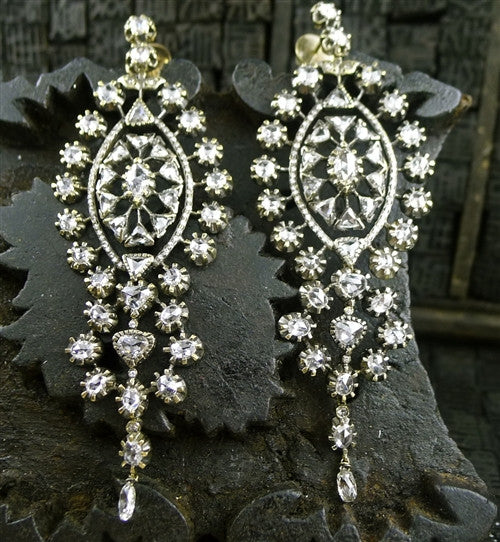Lorraine Schwartz 18K Blackened Gold and Diamond Chandelier Earrings