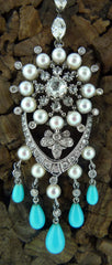 Lorraine Schwartz Diamond, Pearl, and Persian Turquoise Chandelier Earrings