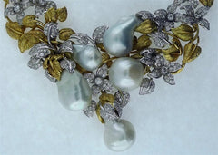 Lorraine Schwartz Buccellati Style Necklace with South Sea Pearls and Diamonds