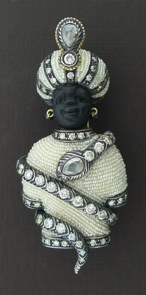 Antique Venetian Blackamoor Brooch/Pendant in 18K Yellow Gold, Silver, Seed Pearls, and Diamonds