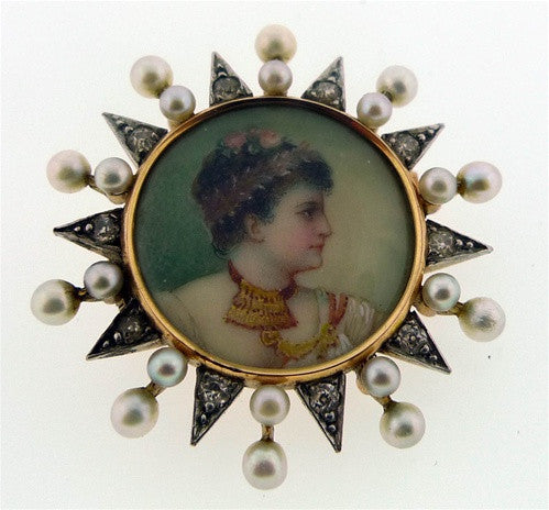 Edwardian Portrait of a Lady Brooch in 18K Yellow Gold
