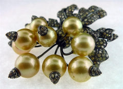 "Golden South Sea Pearl ""Radishes"" Brooch with Champagne Diamonds in 18K Rhodium Blackened Gold"