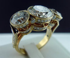 Russian Origin Three Stone Diamond Ring in 18K Yellow Gold