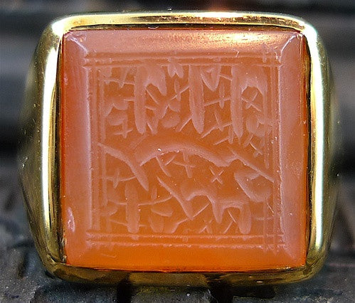 Estate Etched Carnelian Ring in 18K Yellow Gold