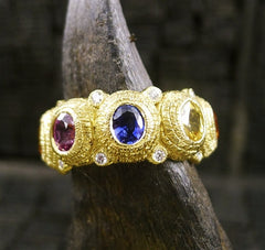 Coomi Diamond Eternity Ring with Multi-color Sapphires in 20K Yellow Gold