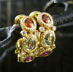 Coomi 20K Yellow Gold Multi-Colored Sapphire and Diamond Eternity Hoops