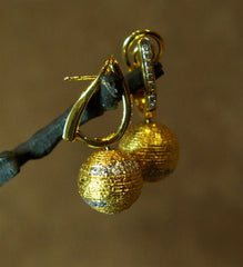Coomi 20K Yellow Gold and Diamond Ball Earrings