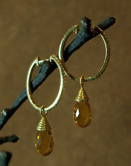 Coomi 20K Yellow Gold and Diamond Oval Hoop Earrings with Faceted Citrine Drops