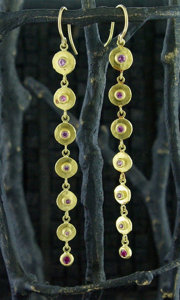 Annie Fensterstock 22k Yellow Gold, Pink Sapphire, and Ruby Earrings