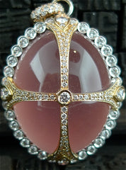 Erica Courtney Cabochon Rose Quartz and Diamond Pendant in 18K Gold