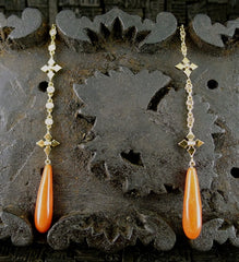 Erica Courtney 18K Yellow Gold, Diamond and Fire Coral Earrings