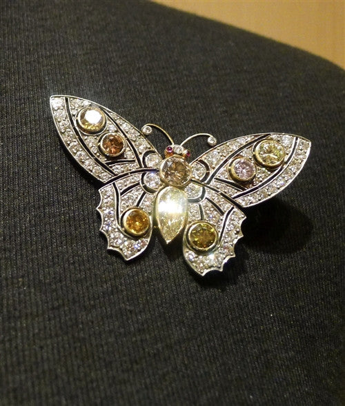 Rare Antique Natural Colored Diamond Butterfly Brooch