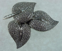 Platinum and Diamond Three Leaf Brooch