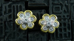 Estate Diamond Flower Stud Earrings