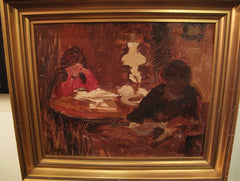 Antique Painting, Oil on Board,Interior Scene signed by Ludvig Find, Danish 1869-1945
