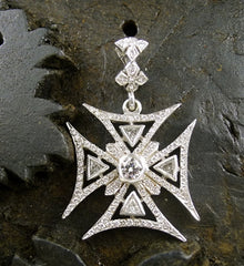 Loree Rodkin Large Diamond and 18K White Gold Maltese Cross Pendant