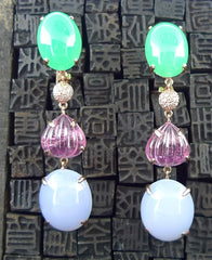 Churchill Private Label 18K Rose Gold Chrysophase, Pink Tourmaline, Lavender Jade and Diamond Drop Earrings
