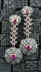 Estate Drop Ruby Earrings in 18K Gold and Silver