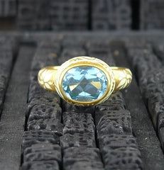 Julie Baker 18k Yellow Gold and Enameled Blue Topaz Ring