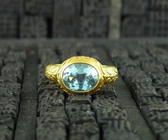 Julie Baker 18k Yellow Gold Engraved Blue Topaz Ring