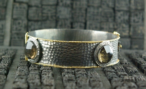 CHURCHILL Private Label Oxidized Silver, 18K Yellow Gold Smoky Quartz and Diamond Bangle Bracelet