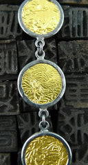 "ARA 24K Collection Yellow Gold and Oxidized Silver Disc ""Coin""  Necklace"